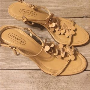 Coach tan ladies size 7B sandals with small heel
